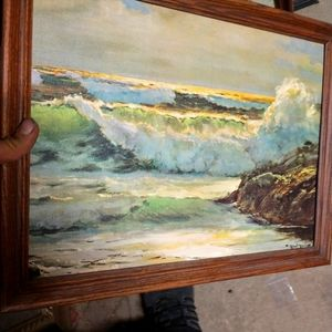 Signed Robert wood painting
